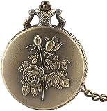 NZDY Reloj de Bolsillo Clásico Elegante Rose Flor de Diseño Bronce Reloj de Bolsillo de Cuarzo de Bronce Cadena de Bolsillo de Vapor Reloj de Bolsillo Retro Reloj Colgante Reloj de Bolsillo para Homb