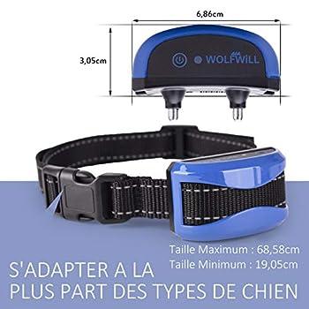 WOLFWILL Collier de Dressage pour Chien Collier Anti-aboiement Chien Etanche Rechargeable avec Mode Bip/Vibration/Choc Electrostatique et Automatique Ecran LCD pour Un Chien