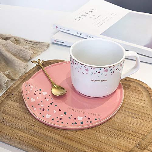 AMNVBD Nordic Ins Licht Schale mit frischem Kaffeebecher Keramik Tasse Glaskrug Hotel Restaurant Dessert Tassen (Color : White Cup Chassis Powder, Size : 250ML)