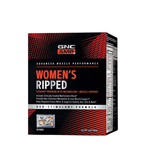 GNC AMP Women's Ripped Vitapak | Women's Multivitamin Blend, Burns Up to 12X More Calories, Regulates Excess Water, Hair, Skin, and Nails | 30 Packs