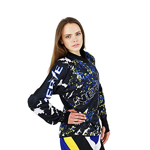 Motocross Enduro T-shirt met lange mouwen heren dames splash design met motief Small zwart-blauw