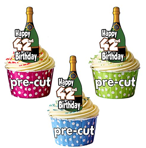 Gelukkige 42e Verjaardag Champagne flessen - Precut Edible Cupcake Toppers/Cake Decoraties - Heren - Dames - Vieringen - Party Pack of 36