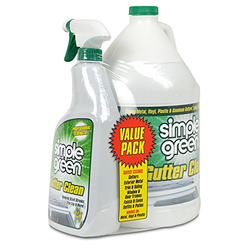 Simple Green Gutter Cleaner - Removes Stains from Dirt, Mold, Mildew & Sap – Cleans Metal, Aluminum, Vinyl & Plastic Gutters, Eaves, Fascia, Siding & Trim (32 oz Spray and 1 gal Refill) (Pack of 2)
