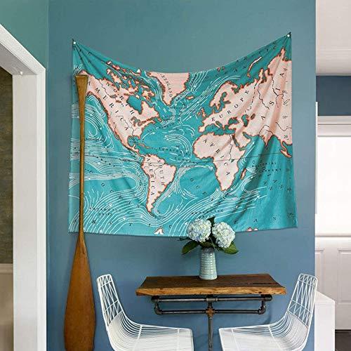 Springisso Wereldkaart Wandtapijt Blauwe Oceaan Muur Opknoping Indische Boheemse Tapijten Kleurrijke Mandala Home Decor Muurkunst voor Woonkamer Slaapkamer Dorm