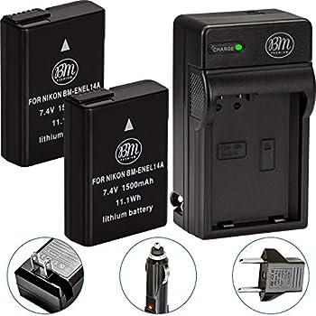 BM Premium Pack of 2 EN-EL14A Batteries and Charger for Nikon D3100 D3200 D3300 D3400 D3500 D5100 D5200 D5300 D5500 D5600 DF Coolpix P7000 P7100 P7700 Digital SLR Cameras