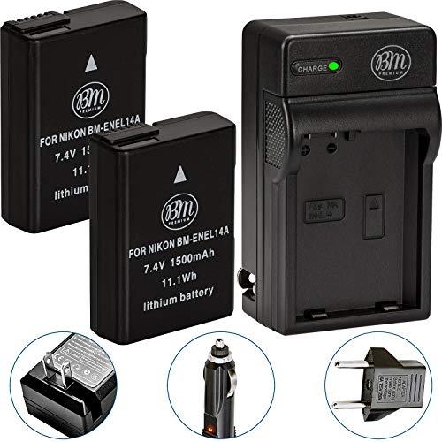 BM Premium Pack of 2 EN-EL14A Batteries and Charger for Nikon D3100, D3200, D3300, D3400, D3500, D5100, D5200, D5300, D5500, D5600, DF, Coolpix P7000, P7100, P7700 Digital SLR Cameras