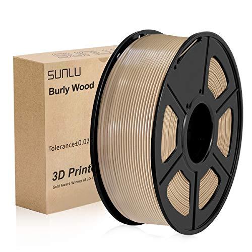 Filamento de impresora SUNLU 3D PLA Plus 1,75 mm 1 kg carrete, PLA + filamento de madera maciza 1,75 +/- 0,02 mm para impresión 3D