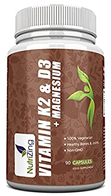 NutriZing's Vitamin K2, D3 and Magnesium in a Premium High Strength Formula. Provides 3000IU vitamin D3, 150mcg Vit K2 (MK-7) and 20mg Magnesium in a single capsule. Best supplement for healthy bones, teeth and heart for men & women. Easier than taking 3