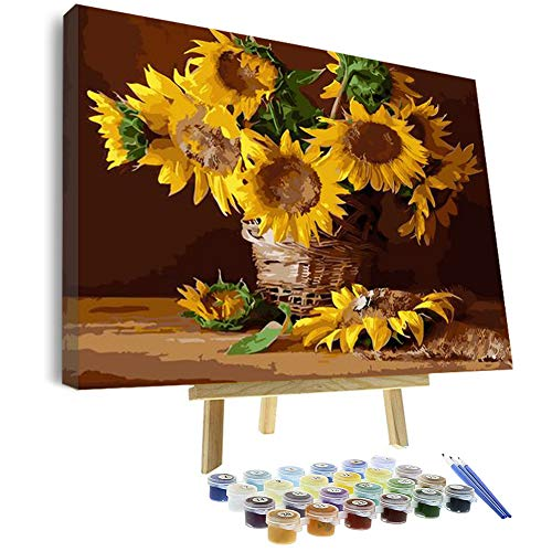 Vigeiya 16x20in Oil Paint by Numbers for Adults Beginners Include Framed Canvas and Wooden Easel with Brushes and Acrylic Pigment (Sunflower)