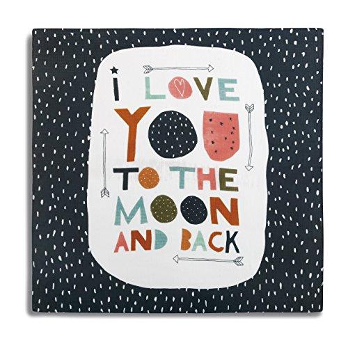 DEMDACO I Love You to The Moon and Back Black Polka Dots 47 x 47 Muslin Fabric Nursery Photo Swaddling Blanket