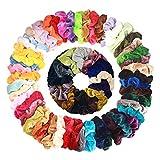 Wanxida 50 Colores Coleteros Terciopelo, Velvet Hair Scrunchies, Elástico Gomas de Pelo Para...