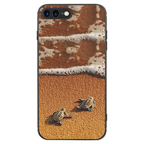 FAUNOW Diseñado para iPhone 7/8 Plus Funda Mate Ultra-delgada a prueba de golpes Negro Cover con Sea Turtle Baby On The Beach
