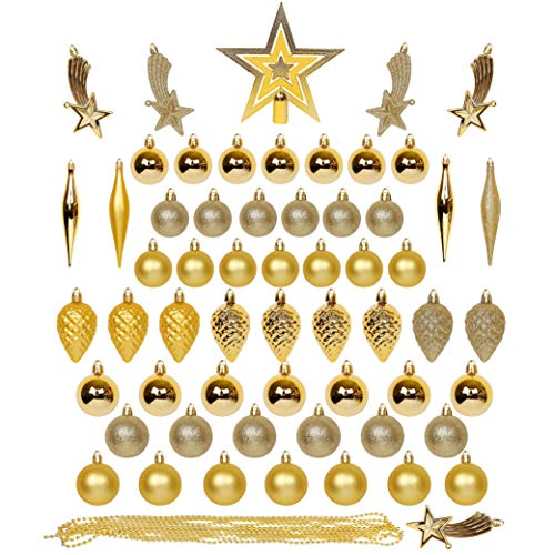 Lulu Home Assorted Christmas Tree Ornaments Set, 60 Pieces Including Balls Tree Top Star Shuttle Pine Cone Meteor Bead Chain, Xmas Seasonal Decorations for Christmas Tree