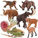 9 PCS Prehistoric Animal Model Figures Ancient Smilodon Mammoth Figurines Party Favors Supplies Cake Toppers Decoration Collection Set Toys for 5 6 7 8 Years Old Boys Girls Kid Toddlers