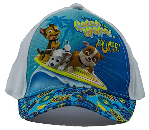 PAW PATROL Hunde Chase, Marshall und Rubble Catch The Waves Pups Kappe, Baseball Cap, Schirmmütze für Kinder, Mädchen und Jungen, aus 100% Baumwolle, mit Klettverschluss (Weiß, 54)