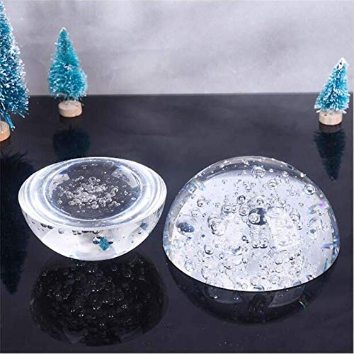 DANHUI Cristal de Media Bola de Burbuja pisapapeles Globo hemisferio cúpula lupas Semi decoración del hogar Adornos figuritas Regalos en Miniatura (Color : Transparent, Size : 100mm)