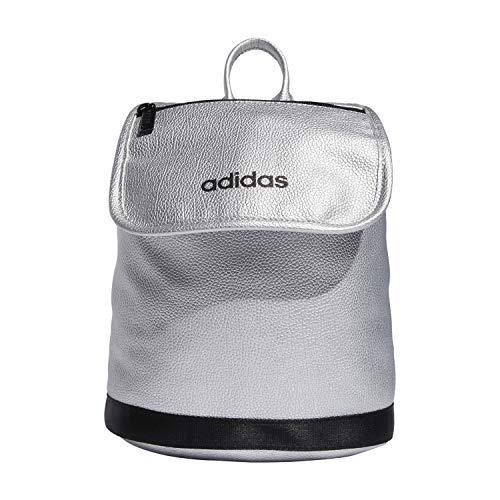 adidas Mini-Rucksack aus PU-Leder., Unisex-Erwachsene, 5150801, Silber Pebble Pu/ Schwarz, Einheitsgröße