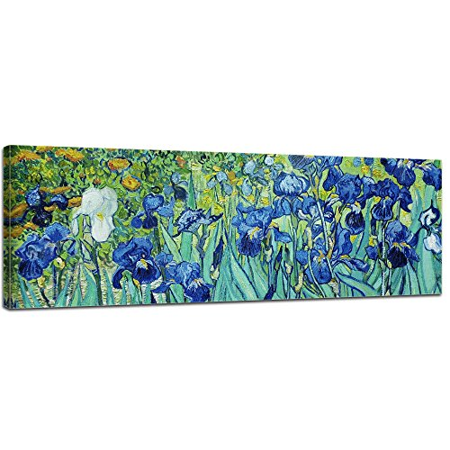 Keilrahmenbild Vincent Van Gogh Iris - 120x40cm Panorama quer - Alte Meister Berühmte Gemälde Leinwandbild Kunstdruck Bild auf Leinwand