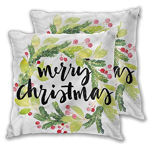 Xlcsomf Christmas Pillowcase Printed, 20 x 20 Inch Watercolor Wreath For bedroom Christmas decoration Set of 2