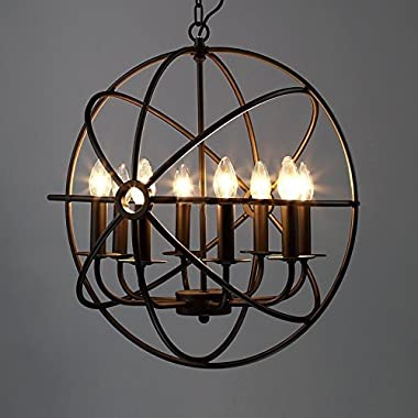 Industrial Vintage Retro Pendant Light - LITFAD 21  Edison Metal Globe Shade Hanging Ceiling Light Chandelier Pendant Lamp Lighting Fixture Black Finish with 8 Lights