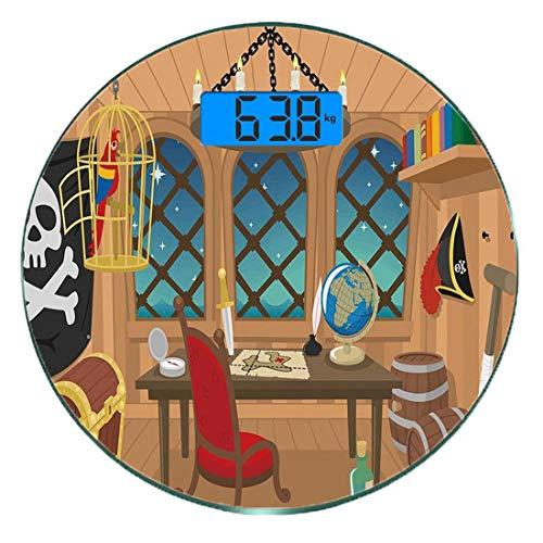 Digitale Präzisionswaage für das Körpergewicht Runde Pirat Ultra dünne ausgeglichenes Glas-Badezimmerwaage-genaue Gewichts-Maße,Kabine eines Piratenkapitäns Parrot im Käfig Jolly Roger Treasure Chest