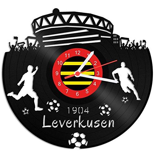 GRAVURZEILE Schallplattenuhr Leverkusen - 100% Vereinsliebe - Upcycling Design Wanduhr aus Vinyl Made in Germany