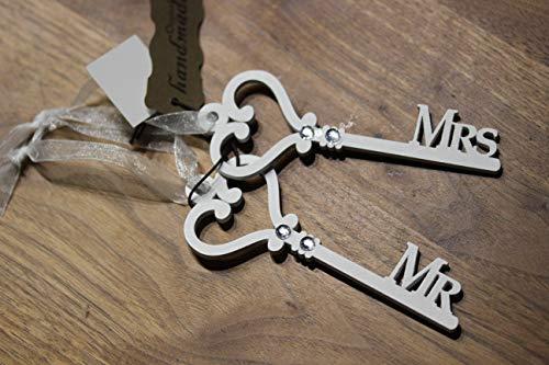 GOLDBACH Clé en Bois Blanc sur Bande Mr. & Mrs Pendentif Mariage Longueur 12 cm Largeur 4,5 cm