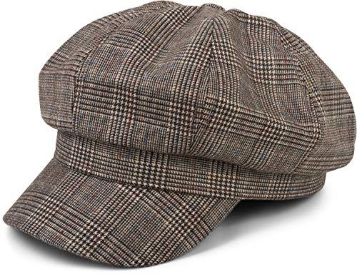 styleBREAKER Damen Bakerboy Schirmmütze mit Glencheck Karo Muster, Ballonmütze, Newsboy Cap 04023068, Farbe:Braun-Beige