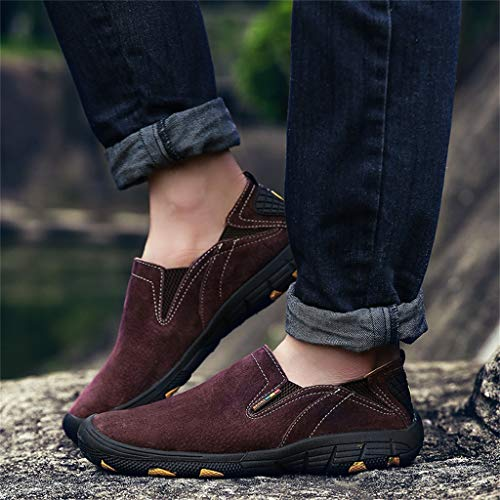 Men's Driving Causal Suede Loafers Slip on Classic Comfortable Oxford Walking Shoes Hiking Shoes Goosun Wear-Resistant Sneakers Non-Slip Trainers for Outdoor Trail Trekking Brown