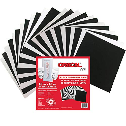 Oracal 651 Black and White Pack - Adhesive Craft Vinyl for Cricut, Silhouette, Cameo, Craft Cutters, Printers, and Decals - 12