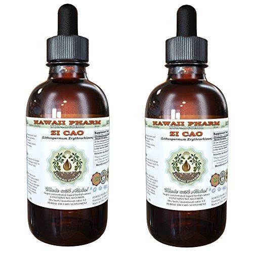 Zi Cao (Lithospermum Erythrorhizon) Glycerite, Dried Leaves Alcohol-Free Liquid Extract, Glycerite Herbal Supplement 2x4 oz
