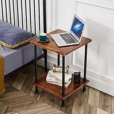 """2-Tier Industrial Farmhouse End Table, Side Table for Living Room, Iron Pipe Nightstand with Solidwood (Rustic Brown, 18.7"""" L x 18.7"""" W x 21.7"""" H)"""