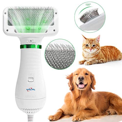 NACRL Dog Hair Dryer, Pet Grooming Hair Blower with Slicker Brush, Adjustable Temperature 2 Settings...