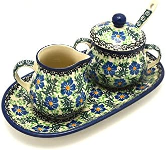 Polish Pottery Cream  Sugar Set with Sugar Spoon - Sweet Violet