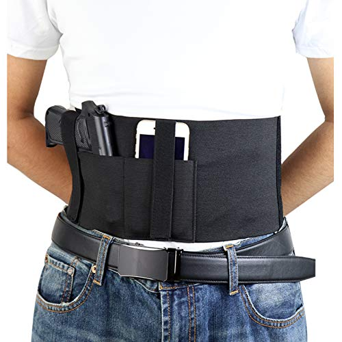 N \ A Banda para el Vientre, Funda para Pistola, Cintura para Pistola, Soporte Ajustable para Pistola, Compatible con Glock, Smith & Wesson, Taurus, Colt, Kimber, Beretta, Kahr, FN, Ruger, etc.