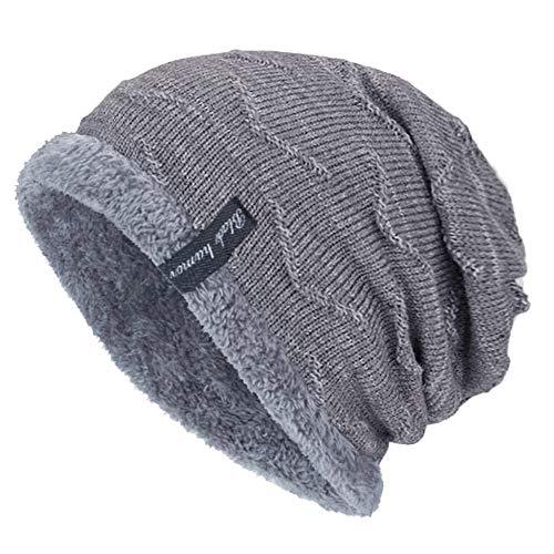 YSense Mens Winter Warm Slouchy Beanie Oversized Baggy Hat Fleece Lined Knit Skull Cap Gray