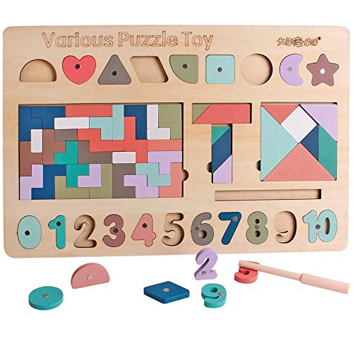 Wooden Children's Multi-Function Game Busy Board Tangram T-Shaped Puzzle with Magnets Number Shape Cognitive Toys Suitable for Boys and Girls Over 3 Years Old