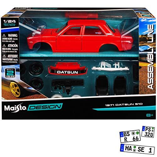 Datsun Nissan Bluebird 510 Rot 1971 Bausatz Kit 1/24 Maisto Modell Auto