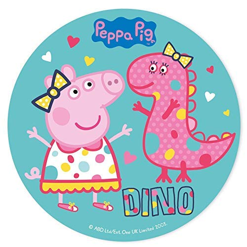 Peppa Pig rotonda 20cm 20,3cm topper per torta commestibili di zucchero. Prodotto su licenza. Dekora.