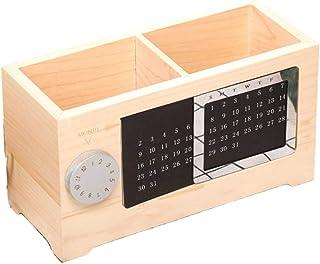 Ping Calendrier perpétuel en bois massif, boîte de rangement créative pour crayons, papeterie, maquillage