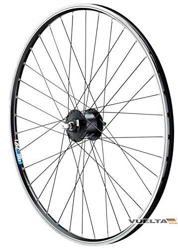 26 Zoll Fahrrad Laufrad Vorderrad Hohlkammerfelge Cut 19 Shimano Nabendynamo DHC30003 schwarz Vollachse für V-Brakes/Felgenbremse