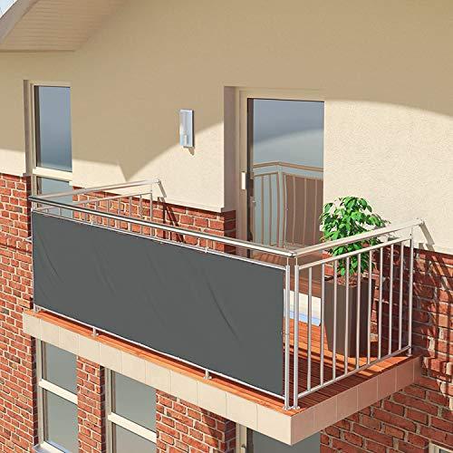 BALCONIO Balkon Sichtschutz wasserabweisend Balkonbespannung Balkonabdeckung für Balkon Terrasse aus Polyester-350 x 85 cm-Dunkelgrau