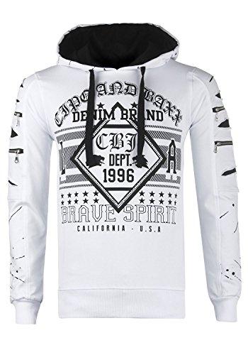 Cipo & Baxx Herren Sweatshirt CL237 (M, weiß)