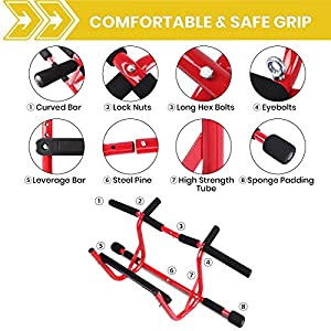 XGEAR Pull Up Bar Doorway, Chin Up Bar, Upper Body Workout Bar, Fitness Chin-Up Frame with Foam Ergonomic Grips Doorway Trainer - Portable Home Gym Equipment