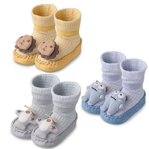 Lictin Calcetines Zapatos Antideslizante para Bebe-3 Pares Calcetines Slipper Suela de PU Antideslizante con Imagenes de Dibujos Animados Para Bebes de 12 a 18 Meses