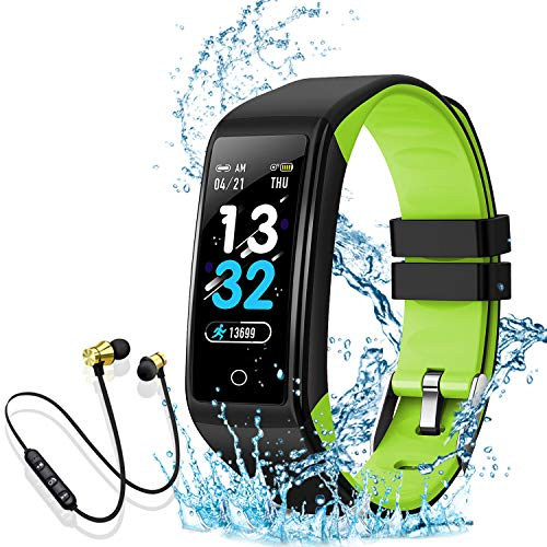 Montre Connectée Intelligente Femmes Homme Enfant Smartwatch Etanche Bracelet Connecté Podometre Cardio fréquencemètre et Ecouteur Bluetooth Sport pour iPhone/Samsung/Huawei(Vert)