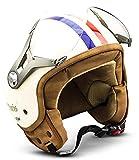 SOXON SP-325 Imola · Chopper Vintage Bobber Vespa Demi-Jet Retro Pilot Moto Casque Jet Biker Mofa Scooter Cruiser Helmet · ECE certifiés · visière inclus · y compris le sac de casque · Beige · L (59-60cm)