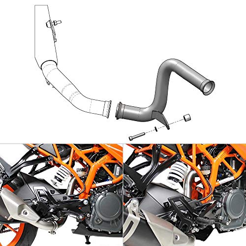 NICECNC Aftermarket Motorcycle Stainless Steel Exhaust Muffler Mid Pipe Compatible with DUK- 125/390,RC125/390 2017 2018 2019