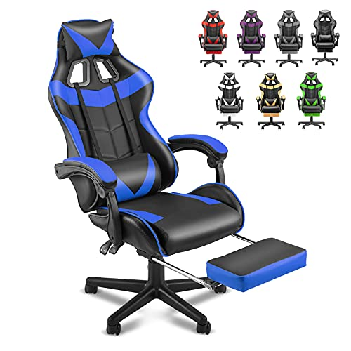 Soontrans Gaming Chair with Footrest,Gaming Computer Chair, Office Gaming Chair Ergonomic Gamer Chair with Height Adjustment,Headrest and Lumbar Support Gamer Chair(Storm Blue)