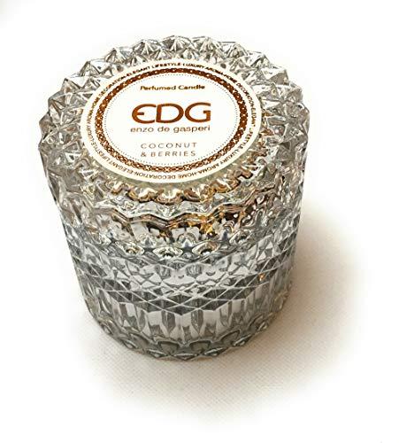 EDG Candela in vasetto di Vetro profumata Cocco 160 gr Diametro 9 cm Altezza 9 cm Durata 30ore Enzo De Gasperi